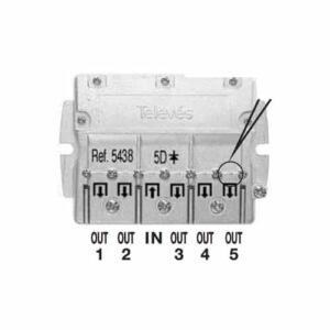 TELEVES Fördelare,Smart F-typ, 5-vägs, 9,5 dB, dc 5-2400