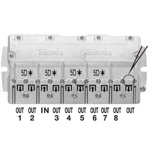 TELEVES Fördelare, ref: 5489 Smart F-typ, 8-vägs, 16 dB, dc 5-2400