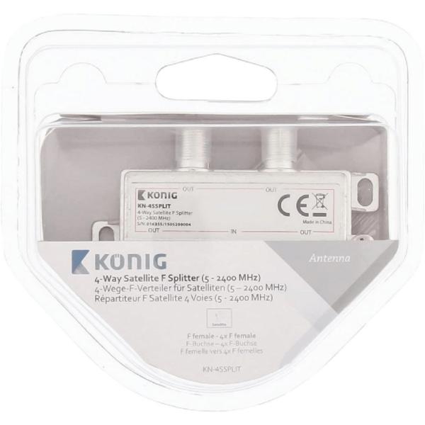 KÖNIG König, 4-vägs fördelare, 5-2400 MHz